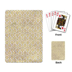 Hexagon1 White Marble & Yellow Marble (r) Playing Card by trendistuff