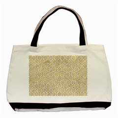 Hexagon1 White Marble & Yellow Marble (r) Basic Tote Bag by trendistuff