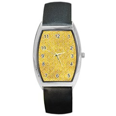 Hexagon1 White Marble & Yellow Marble Barrel Style Metal Watch by trendistuff