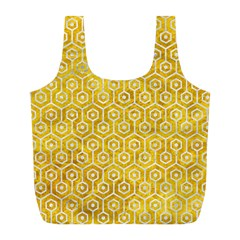 Hexagon1 White Marble & Yellow Marble Full Print Recycle Bags (l)  by trendistuff