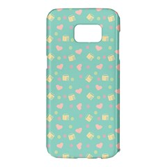 Teal Milk Hearts Samsung Galaxy S7 Edge Hardshell Case
