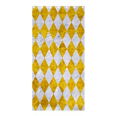 Diamond1 White Marble & Yellow Marble Shower Curtain 36  X 72  (stall)  by trendistuff