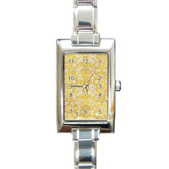 Damask2 White Marble & Yellow Marble (r) Rectangle Italian Charm Watch