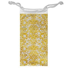 Damask2 White Marble & Yellow Marble (r) Jewelry Bag by trendistuff