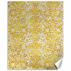 Damask2 White Marble & Yellow Marble (r) Canvas 11  X 14
