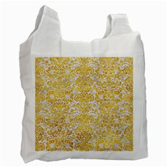 Damask2 White Marble & Yellow Marble (r) Recycle Bag (one Side) by trendistuff