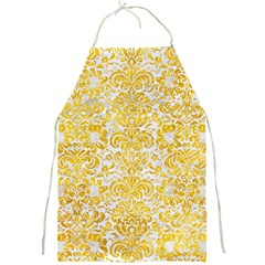 Damask2 White Marble & Yellow Marble (r) Full Print Aprons by trendistuff