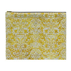 Damask2 White Marble & Yellow Marble Cosmetic Bag (xl)