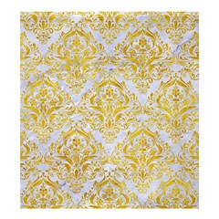 Damask1 White Marble & Yellow Marble (r) Shower Curtain 66  X 72  (large)  by trendistuff