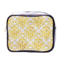 Damask1 White Marble & Yellow Marble (r) Mini Toiletries Bags by trendistuff