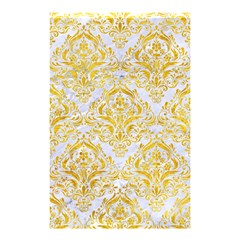 Damask1 White Marble & Yellow Marble (r) Shower Curtain 48  X 72  (small)  by trendistuff