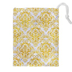 Damask1 White Marble & Yellow Marble (r) Drawstring Pouches (xxl) by trendistuff