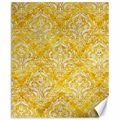 Damask1 White Marble & Yellow Marble Canvas 8  X 10