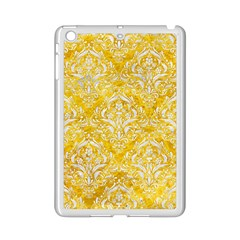Damask1 White Marble & Yellow Marble Ipad Mini 2 Enamel Coated Cases by trendistuff