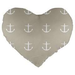 Lt Grey Anchors Large 19  Premium Flano Heart Shape Cushions by snowwhitegirl