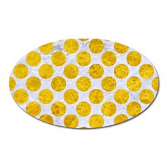 Circles2 White Marble & Yellow Marble (r) Oval Magnet by trendistuff
