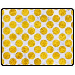 Circles2 White Marble & Yellow Marble (r) Double Sided Fleece Blanket (medium)  by trendistuff