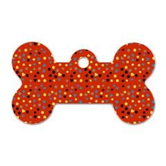 Red Retro Dots Dog Tag Bone (two Sides) by snowwhitegirl