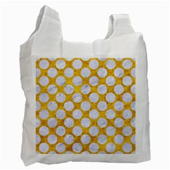 Circles2 White Marble & Yellow Marble Recycle Bag (one Side) by trendistuff