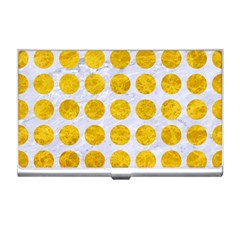 Circles1 White Marble & Yellow Marble (r) Business Card Holders by trendistuff