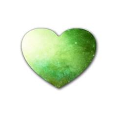 Galaxy Green Rubber Coaster (heart)  by snowwhitegirl