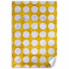 Circles1 White Marble & Yellow Marble Canvas 20  X 30   by trendistuff