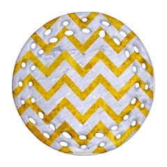 Chevron9 White Marble & Yellow Marble (r) Ornament (round Filigree) by trendistuff
