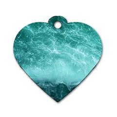 Green Ocean Splash Dog Tag Heart (one Side) by snowwhitegirl