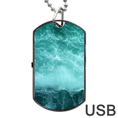 Green Ocean Splash Dog Tag Usb Flash (two Sides) by snowwhitegirl