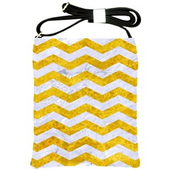 Chevron3 White Marble & Yellow Marble Shoulder Sling Bags