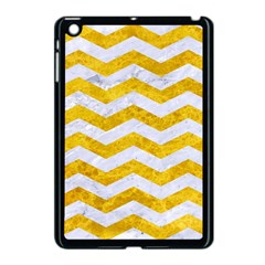 Chevron3 White Marble & Yellow Marble Apple Ipad Mini Case (black) by trendistuff