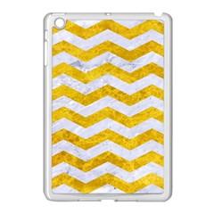 Chevron3 White Marble & Yellow Marble Apple Ipad Mini Case (white) by trendistuff