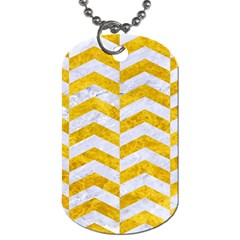 Chevron2 White Marble & Yellow Marble Dog Tag (one Side) by trendistuff