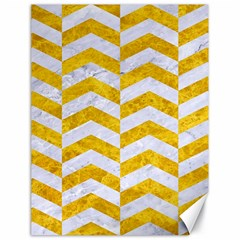 Chevron2 White Marble & Yellow Marble Canvas 18  X 24   by trendistuff