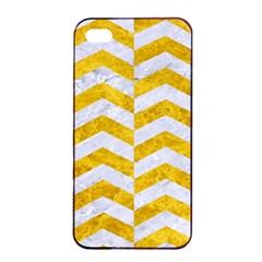 Chevron2 White Marble & Yellow Marble Apple Iphone 4/4s Seamless Case (black) by trendistuff