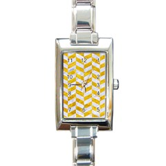 Chevron1 White Marble & Yellow Marble Rectangle Italian Charm Watch