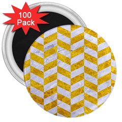Chevron1 White Marble & Yellow Marble 3  Magnets (100 Pack) by trendistuff