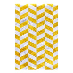Chevron1 White Marble & Yellow Marble Shower Curtain 48  X 72  (small)  by trendistuff