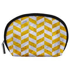 Chevron1 White Marble & Yellow Marble Accessory Pouches (large)  by trendistuff
