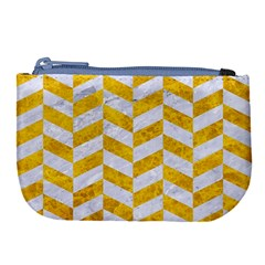 Chevron1 White Marble & Yellow Marble Large Coin Purse by trendistuff
