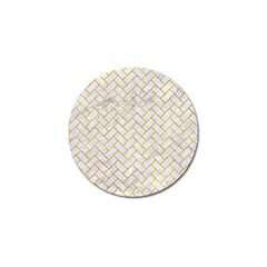 Brick2 White Marble & Yellow Marble (r) Golf Ball Marker (10 Pack) by trendistuff