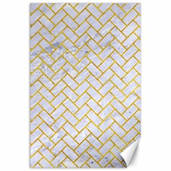 Brick2 White Marble & Yellow Marble (r) Canvas 24  X 36  by trendistuff