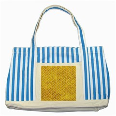 Brick2 White Marble & Yellow Marble Striped Blue Tote Bag by trendistuff