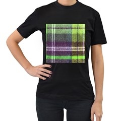 Neon Green Plaid Flannel Women s T Shirt (black) by snowwhitegirl