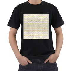 Brick1 White Marble & Yellow Marble (r) Men s T Shirt (black) (two Sided)