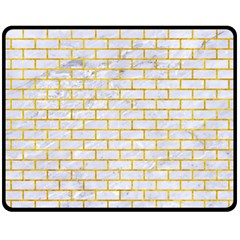 Brick1 White Marble & Yellow Marble (r) Fleece Blanket (medium)  by trendistuff