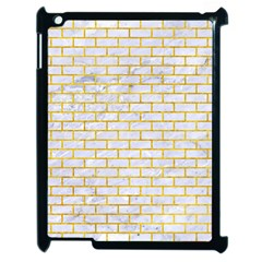 Brick1 White Marble & Yellow Marble (r) Apple Ipad 2 Case (black) by trendistuff