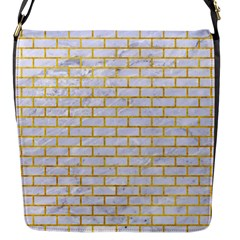 Brick1 White Marble & Yellow Marble (r) Flap Messenger Bag (s) by trendistuff