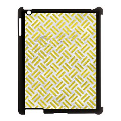 Woven2 White Marble & Yellow Leather (r) Apple Ipad 3/4 Case (black) by trendistuff
