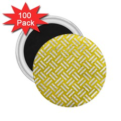 Woven2 White Marble & Yellow Leather 2 25  Magnets (100 Pack)  by trendistuff